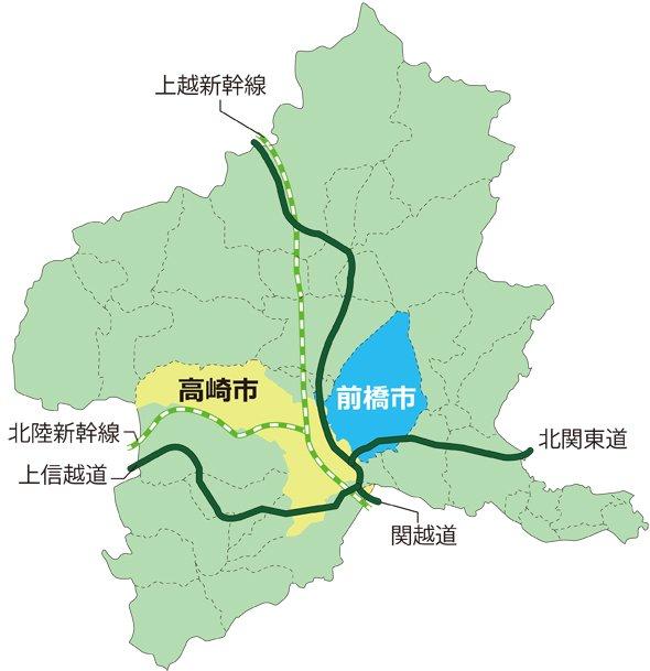 群馬県内における前橋と高崎の位置関係。高崎は埼玉県境に飛び地がある(編集部作成)