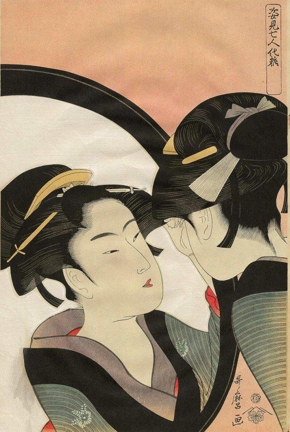 喜多川歌麿の浮世絵「姿見七人化粧」。女性の化粧姿を題材とした美人画である