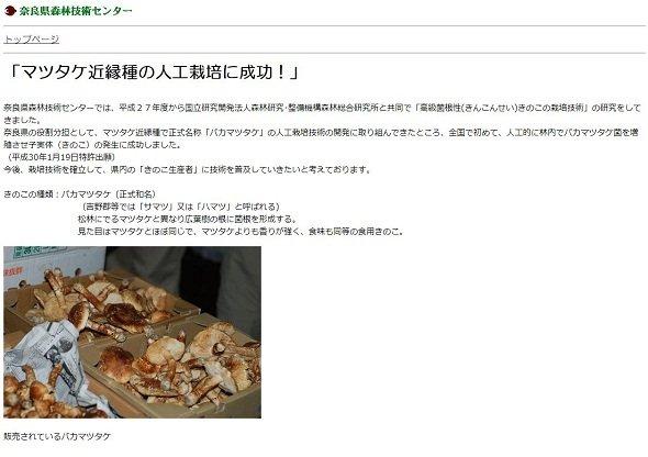 「バカマツタケ(正式和名)」という文字列のインパクト(画像は奈良県森林技術センターのサイトより)