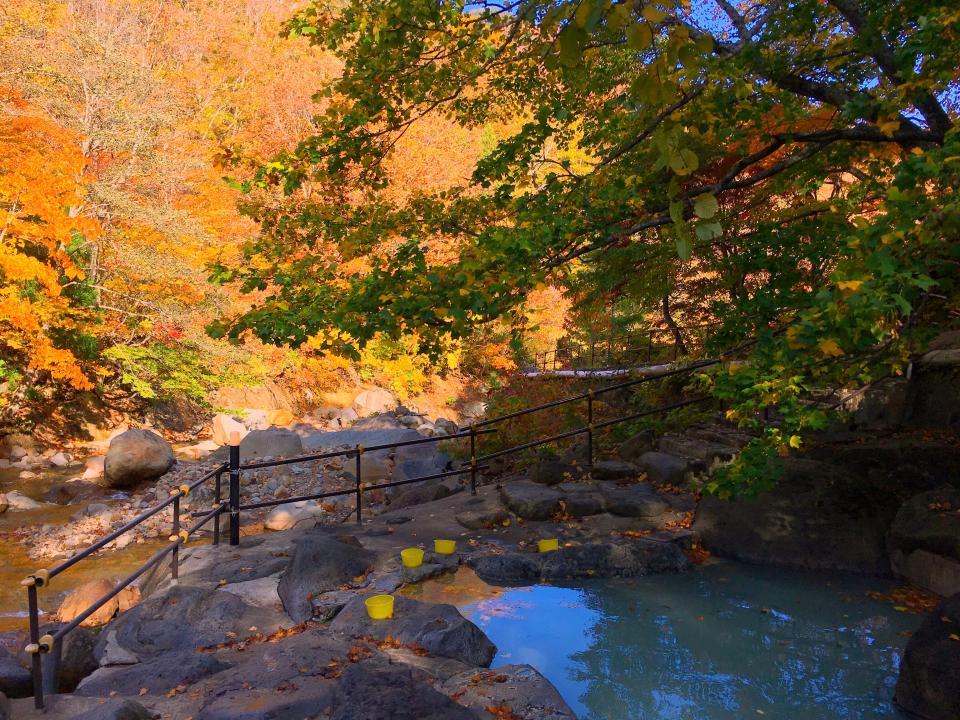 美しい紅葉と乳白色の温泉に癒される