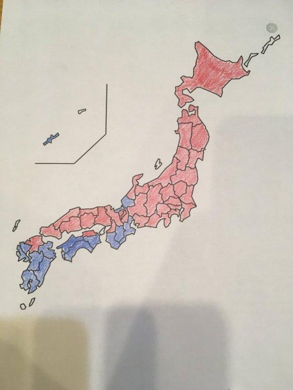 本州はほとんどが赤い!(大隅(@momoiroclovtryz)さんのツイートより)
