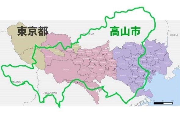 高山市と東京都の面積はほぼ同じ!(Jタウンネット作成、元画像はWikimedia Commonsより)