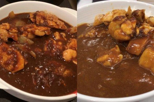 左が松屋「ごろごろ煮込みチキンカレー」、右が吉野家「チキンスパイシーカレー」 (写真はすべてJタウンネット撮影)