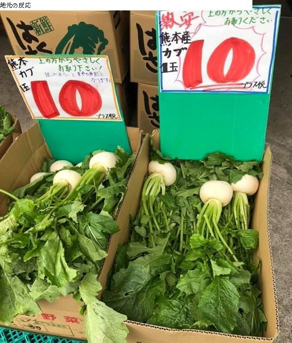 かぶ1玉10円(値段は時季により、日々変わる。津山商店公式Facebookページより、以下同)