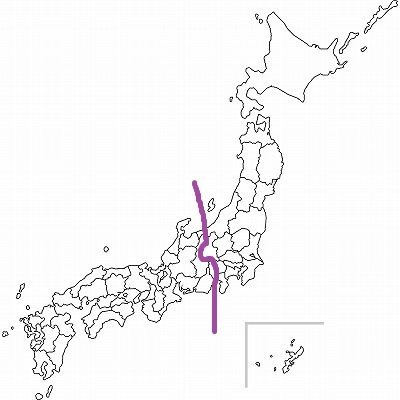 糸魚川静岡構造線による境目(Jタウンネット編集部が加工・作成)