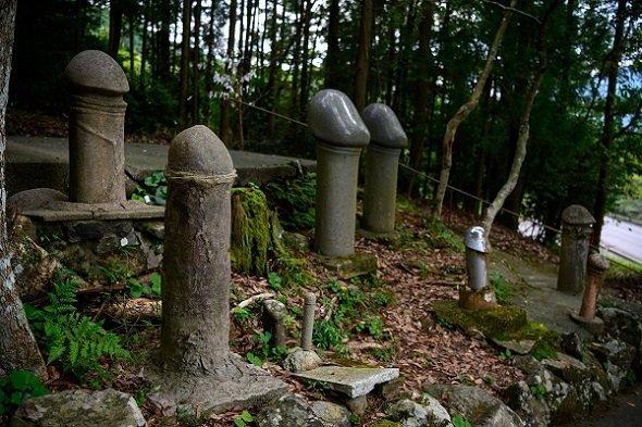 立ち並ぶ男根の石像。 とんぼさん(@tonbo1357)のツイートより