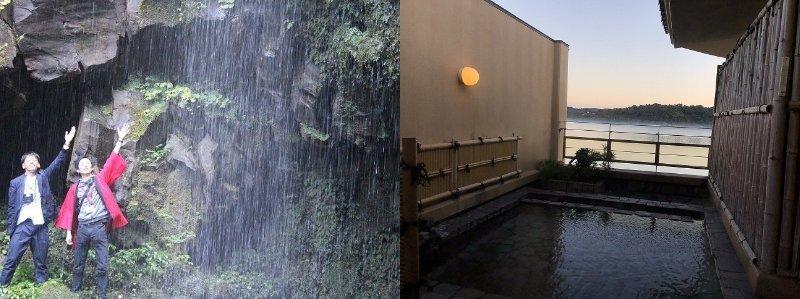 町指定保護文化財の「今滝」と、ホテル「水明荘」の露天風呂