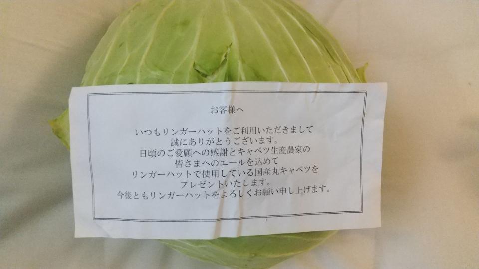 国産キャベツ1玉プレゼント(画像はあるぴの(@Alpino305)さんから)