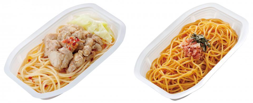 左がチキンたっぷりペペロンチーノ、右が和風ベーコン醤油パスタ(画像はセコマ提供)