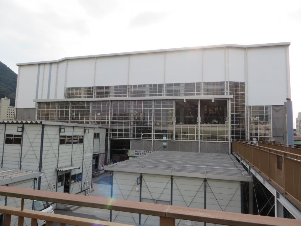 工事中の門司港駅(2017年12月撮影)