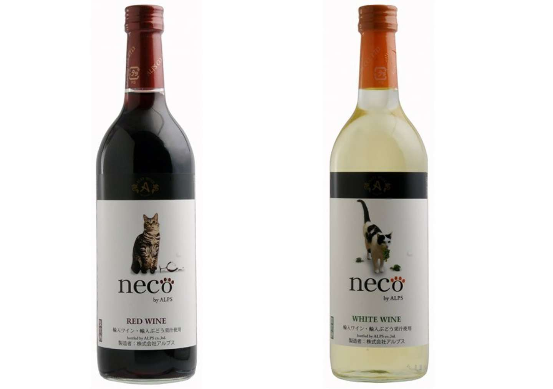 「necoワイン」赤(左)・白(右)。画像は公式オンラインストアより(編集部で一部加工)