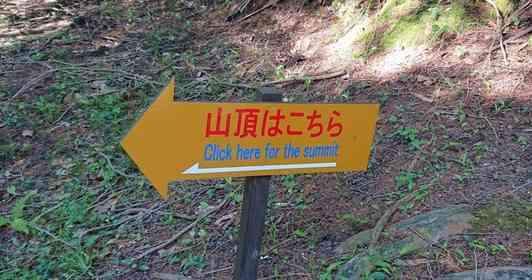 「触ったら瞬間移動できそう」 山で見つけた案内看板に添えられた、衝撃的な英訳がこちら