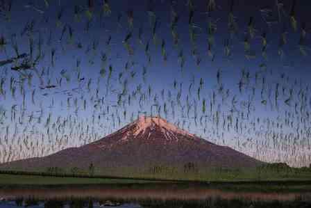 バッタの大群が襲来している...? 富士山の周辺を「浮遊」する、謎の物体の正体は