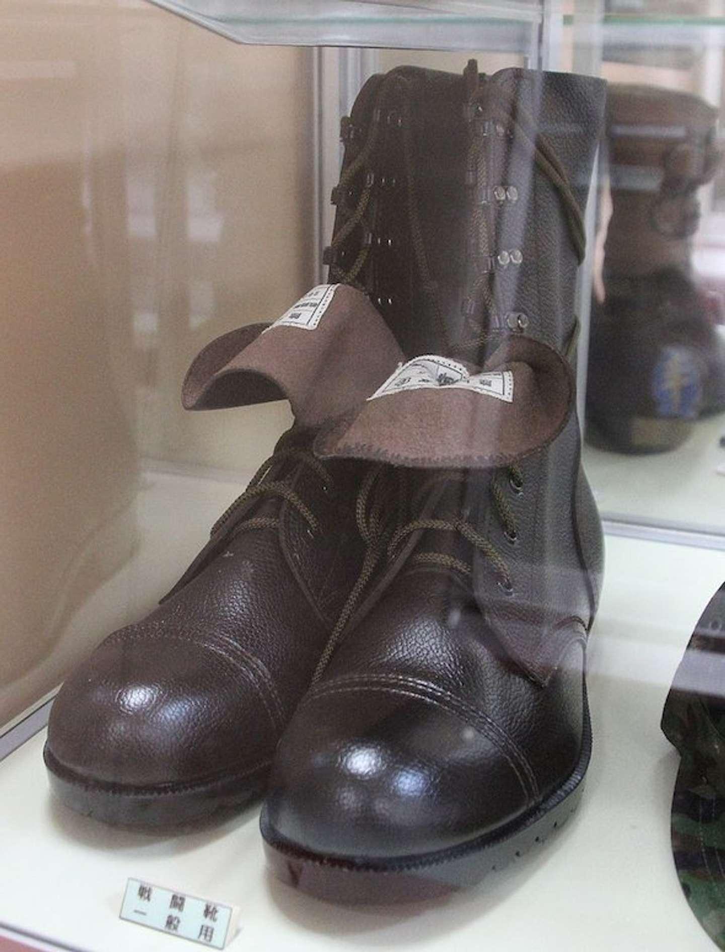 陸上自衛隊の戦闘装着セットとして納入された戦闘長靴(さくらゆい595821さん撮影、Wikimedia Commonsより)