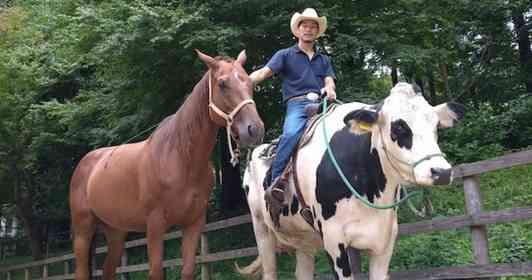 子牛を馬の群れで育てると、馬のように育つらしい
