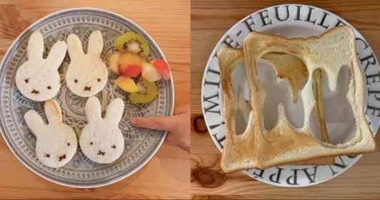 息子のトーストはかわいいミッフィー。一方、母は... 「親あるある」な朝食の光景に愛を感じる